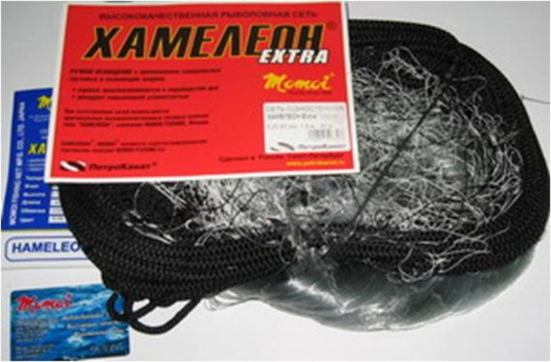 Сеть ХАМЕЛЕОН-Extra, одностенка, скрученная леска 0,12мм*3, h-1,8м,  L-30м, шнуры 6/14гр, ячейка - 22 мм